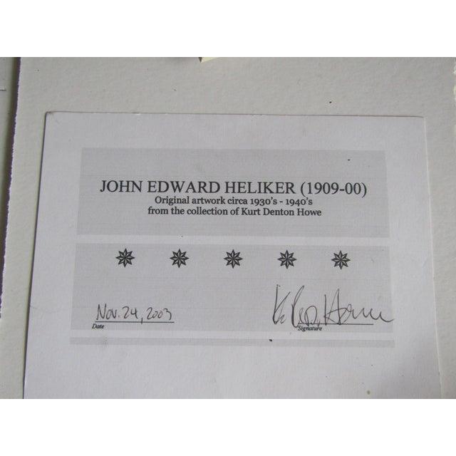 Vintage Mid-Century John Heliker Original Pen & Ink Painting For Sale In West Palm - Image 6 of 8