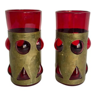 1960s Vintage Felipe Derflingher Red Glass & Brass Glasses - A Pair For Sale