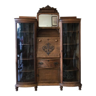 C1900 Traditional Oak Side by Side Bookcase For Sale
