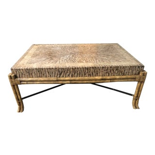 Maitland Smith Coconut Shell Bamboo Coffee Table For Sale