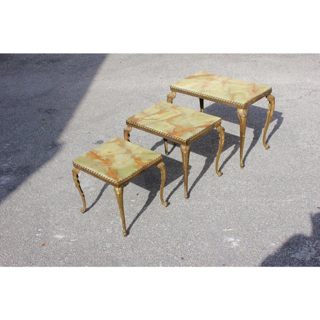 Metal 1940s French Maison Jansen Bronze Onyx Top Nesting Tables - Set of 3 For Sale - Image 7 of 13