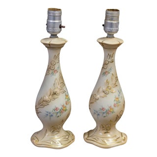 Vintage Porcelain Floral Lamps - A Pair For Sale