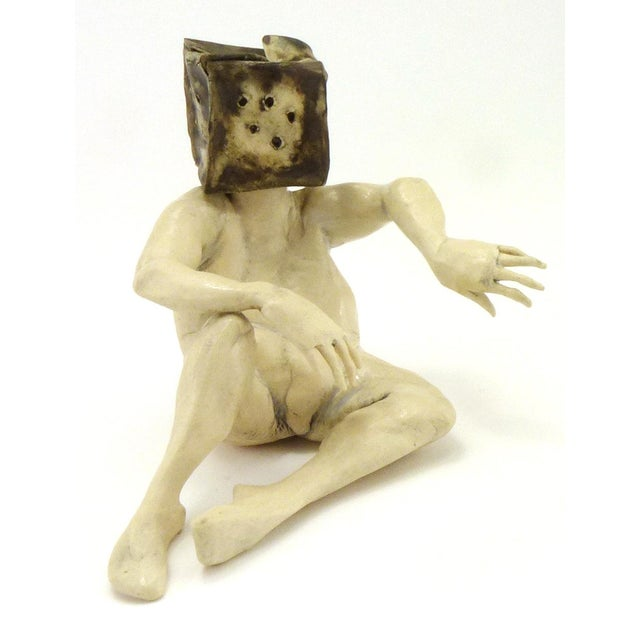 """Aggie Zed Contemporary Ceramic Figural Sculpture of """"Boxman,"""" 1990s, the seated nude figure with his legs stretched out in..."""