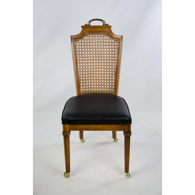 French Late 19th Century French Regency Style Caned Back and Vinyl Dining Chairs - Set of 4 For Sale - Image 3 of 13