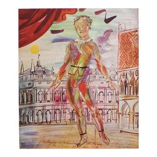 1940s Raoul Dufy, Venetian Harlequin Original Period Swiss Lithograph For Sale