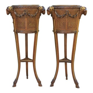 Antique French Caned Rams Heads Flower Box Plant Stands Jardeniere - a Pair For Sale