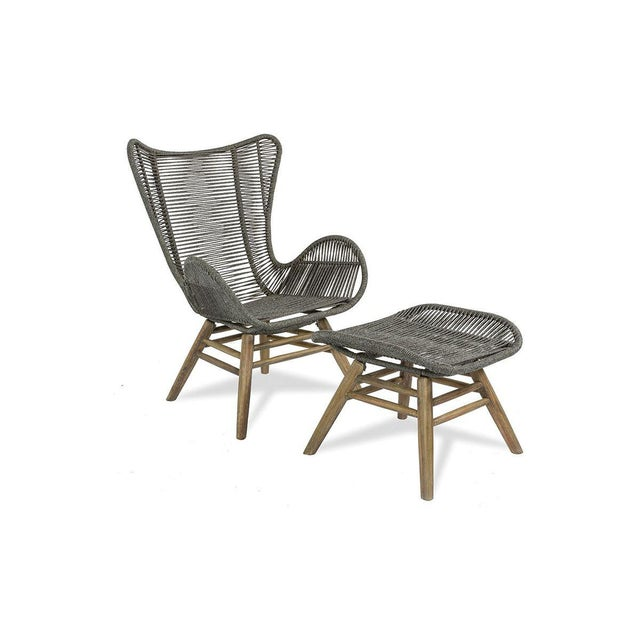 Neptune Outdoor Patio Lounge Chair and Ottoman Set, Slate Gray For Sale In Dallas - Image 6 of 6
