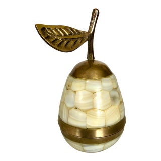 1960's Tessellated Stone & Brass Pear Decorative Box For Sale