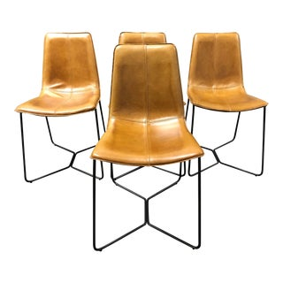 West Elm Slope Leather Dining Chairs - Set of 4 For Sale