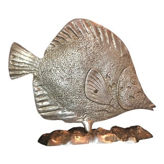 Mid-Century Nautical Sand Cast Brass Angelfish