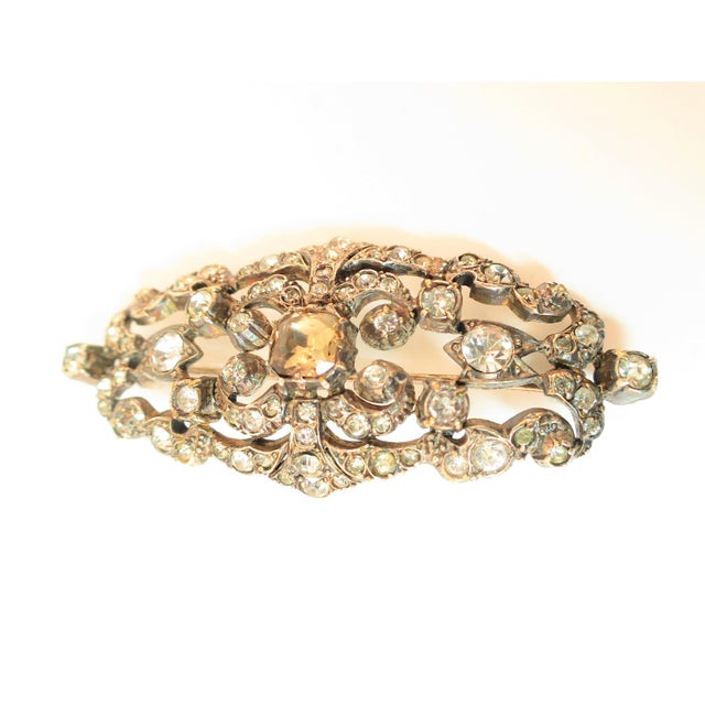 Metal Edwardian Hand-Wrought Sterling & French Paste Brooch1905 For Sale - Image 7 of 11