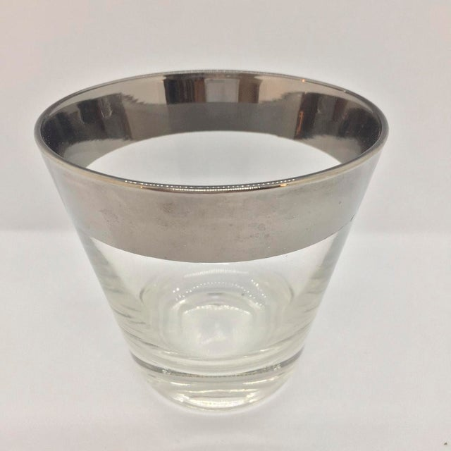Dorothy Thorpe style (no makers mark) Mid Century Platinum Banded Lowball Glasses Set of 4. Generous weight with thick...