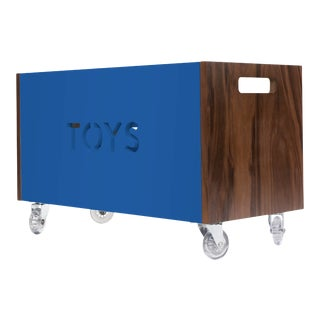 Nico & Yeye Toy Box Chest on Casters Walnut Wood Veneer Pacific Blue For Sale