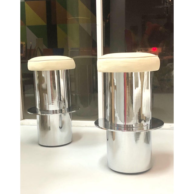 Contemporary Pair of Chrome Minimalist Bar Stools For Sale - Image 3 of 7