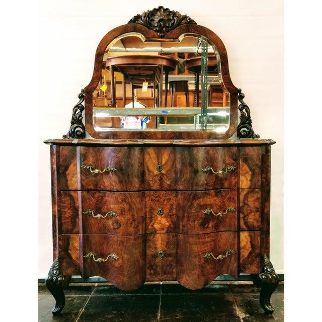Metal Antique Italian Olive Wood Neo-Rococo Venetian Baroque Six Piece Bedroom Suite For Sale - Image 7 of 13