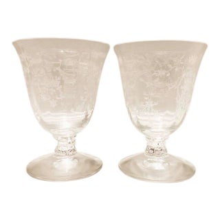 """1930s Fostoria Crystal """"Navarre"""" Juice Glasses / Tumblers - a Pair For Sale"""