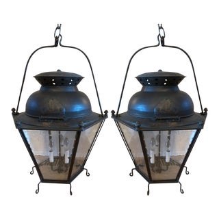 Extra Large Black Patina Copper With Seeded Glass Lanterns From Genie House- a Pair For Sale