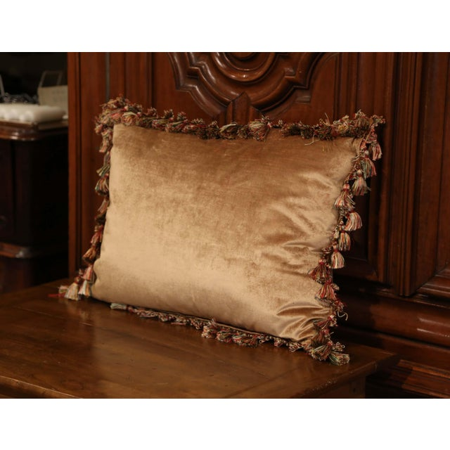Red Handmade French Pillow With 19th Century Aubusson Verdure Tapestry Fragment For Sale - Image 8 of 10