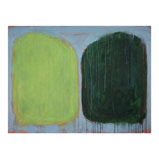 "Contemporary Abstract Green Painting ""Vice Versa / Divided Light"" by Stephen Remick"