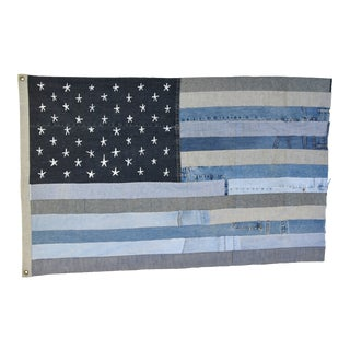"Boho Chic Ralph Lauren Style Denim Patchwork American Flag Art Throw 58"" X 37"" For Sale"
