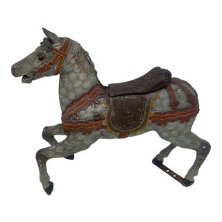 19th C Hand Carved Carousel Horse For Sale
