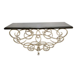 Modern Designer Silvered Iron & Black Marble Top Console Table For Sale