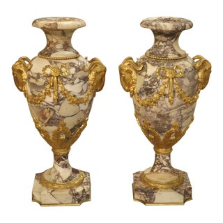 19th Century Napoleon III Marble and Gilt Bronze Cassolettes - a Pair For Sale