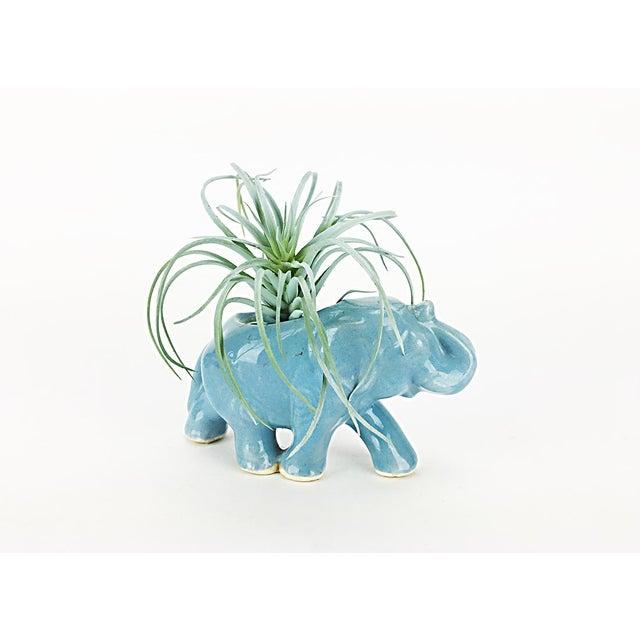 Vintage Blue Ceramic Elephant Planter - Image 3 of 6