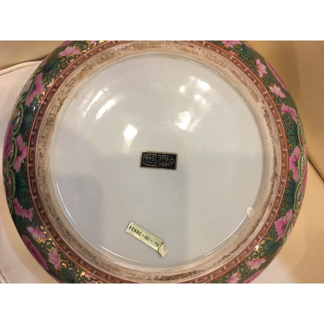 Ceramic Chinese Canton Style Famille Rose Porcelain Punch Bowl For Sale - Image 7 of 7