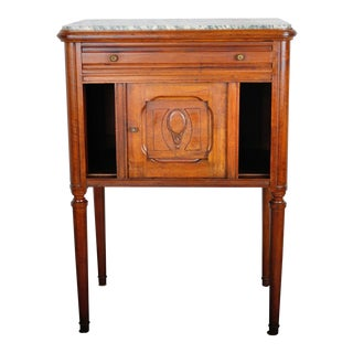 1930's French Rustic Oak Nightstand with Marble Top For Sale
