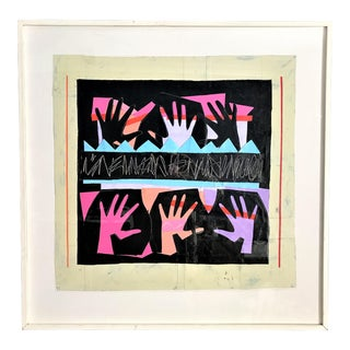 "1995 ""Hands Dance"" Collage With Acrylic & Oil Painting on Canvas by Jan Kern For Sale"