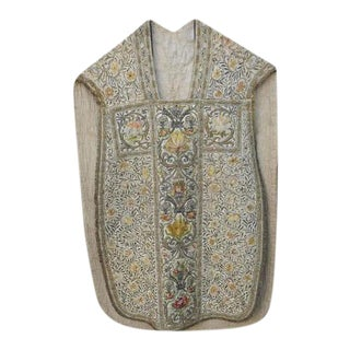 18th Century Italian Embroidered Vestment on Iron Stand For Sale