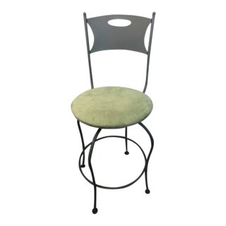 Contemporary Green Upholstered Metal Swivel Counter Stool For Sale