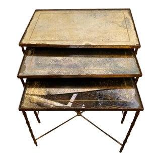 Hollywood Regency Gilt Bronze Églomisé Glass Top Nest of Tables Style Jansen - Set of 3 For Sale