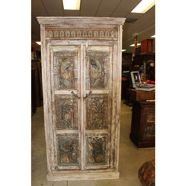 Mid-Century Modern Antique Haveli Carved Rustic Armoire For Sale - Image 3 of 9
