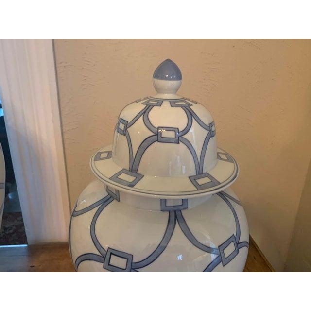 Blue & White Porcelain Lover Locks Temple Jar For Sale - Image 4 of 13