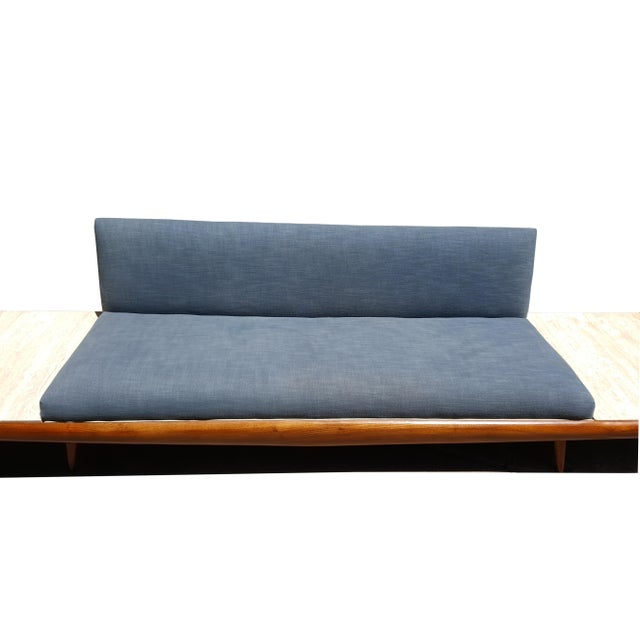 Fabric Mid Century Modern Adrian Pearsall Platform Sofa With Travertine End Tables by Craft Associates For Sale - Image 7 of 8