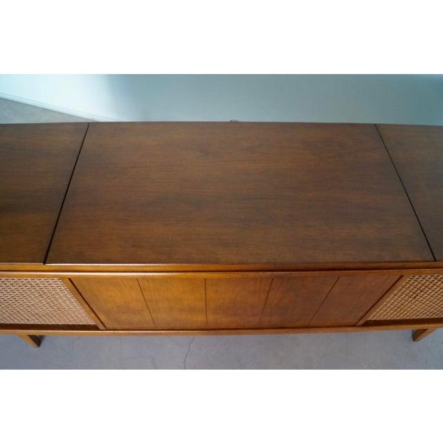 Brown 1960s Danish Modern Silvertone Walnut Record Console For Sale - Image 8 of 13