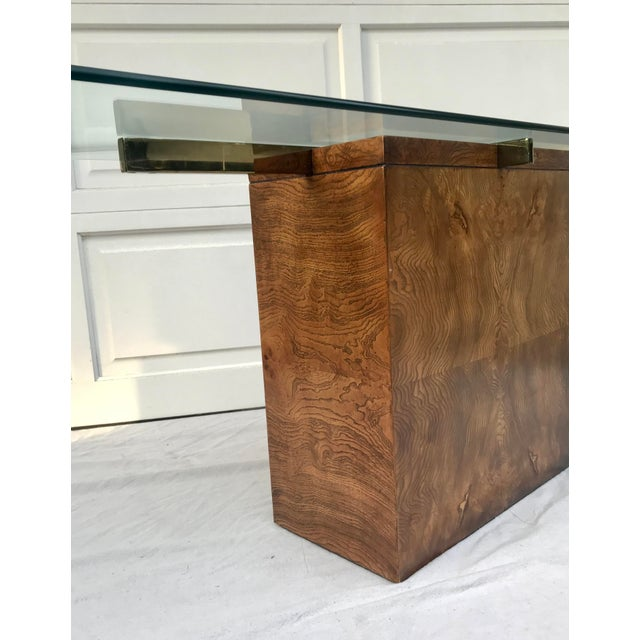 Mid 20th Century Vintage Lane Burl Wood Console Table For Sale - Image 5 of 12