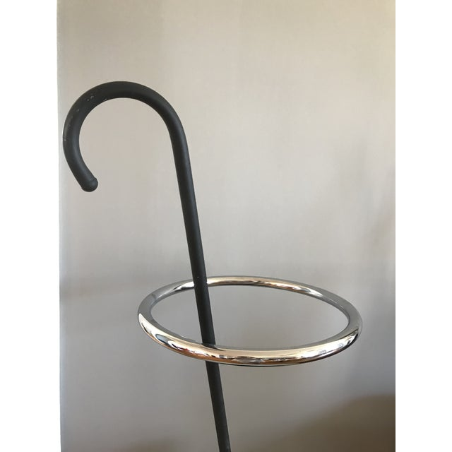 Umbrella stand designed by Shiro Kuramata and produced for Pastoe in the Netherlands. Enameled metal and chrome-plated steel.