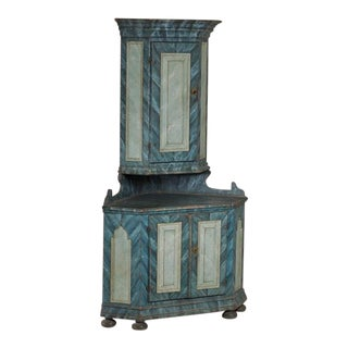 Late 18th Century Swedish Painted Corner Cupboard For Sale