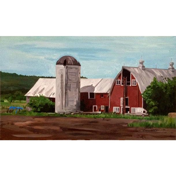 """Country """"A Farmer's Life"""" Original Acrylic Painting For Sale - Image 3 of 3"""