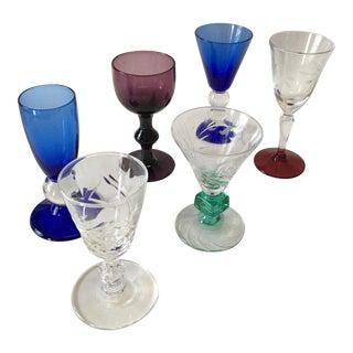 Multi Colored Depression Glass Cordials - Set of 6 For Sale