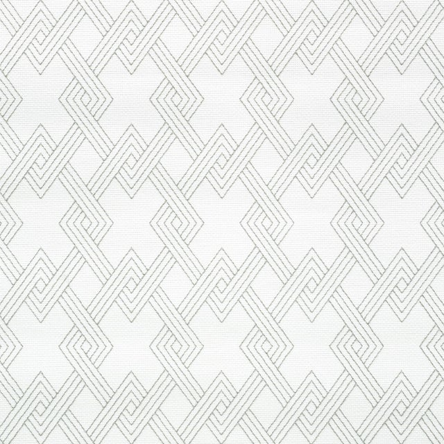 Contemporary Sample - Schumacher Hix Embroidered Paperweave Wallpaper in Grey For Sale - Image 3 of 3