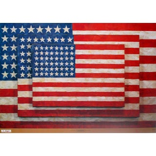 2004 Jasper Johns 'Three Flags' Pop Art Blue,Red,White Italy Offset Lithograph For Sale