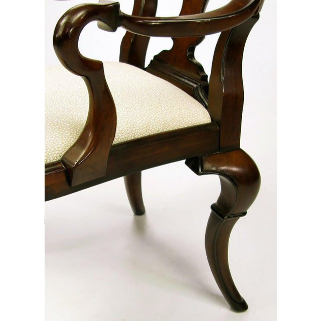 Wood Pair of High Back Carved Walnut Gothic Style Armchairs For Sale - Image 7 of 9