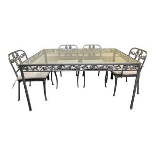 Cast Aluminum + Glass Outdoor Dining Set For Sale