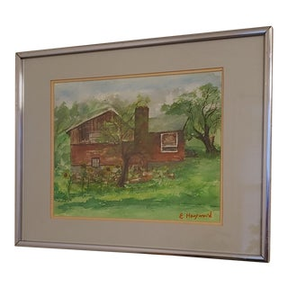 1960s Mid-Century House Portrait Watercolor Painting, Framed For Sale
