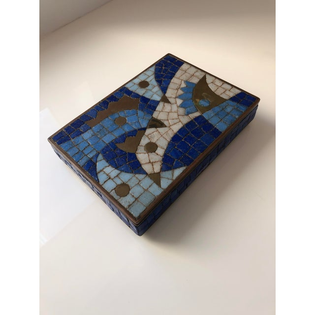 Mid-Century Modern 1960s Vintage Salvador Teran Mexican Modernist Brass and Glass Mosaic Box For Sale - Image 3 of 11
