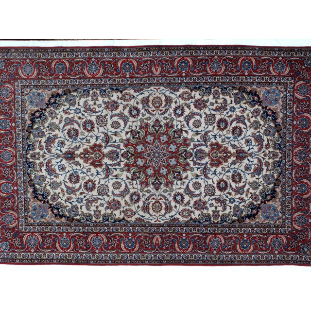 "Islamic Leon Banilivi Persian Isphahan Carpet - 5'3"" x 8' For Sale - Image 3 of 5"